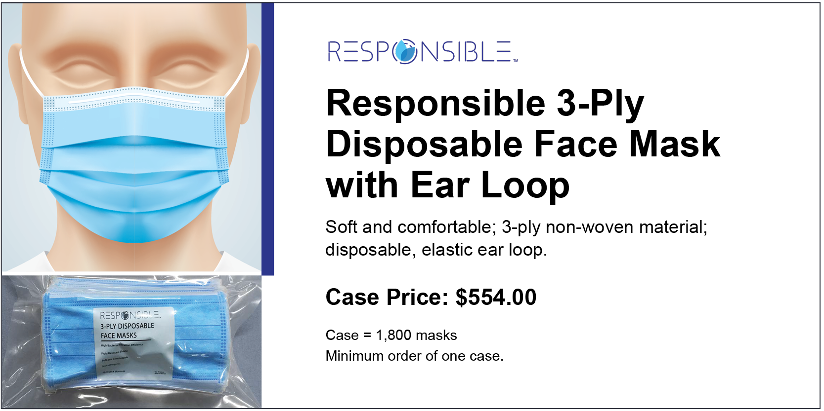Responsible 3-Ply Disposable Face Mask wtih Ear Loop-4